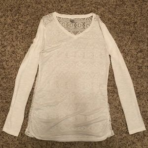 Vanity White Long Sleeved Top with Lace Size Large